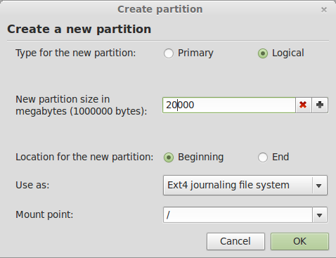 Linux Mint 13 Create Root Partition