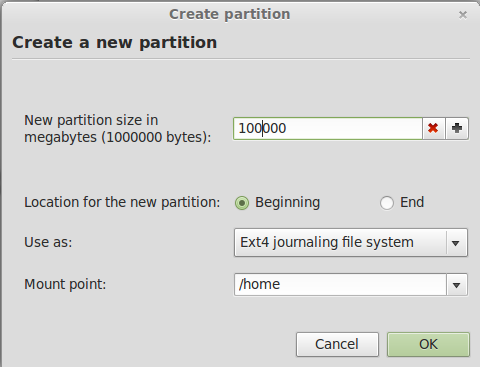 Linux Mint 13 Create Home Partition