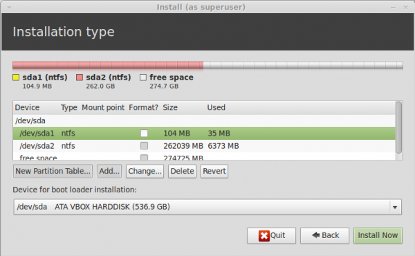Linux Mint 13 Advanced Partitioning Tool
