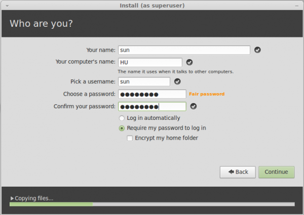 Linux Mint 13 Installer User Account
