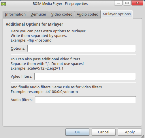 ROSA Media Player File Properties