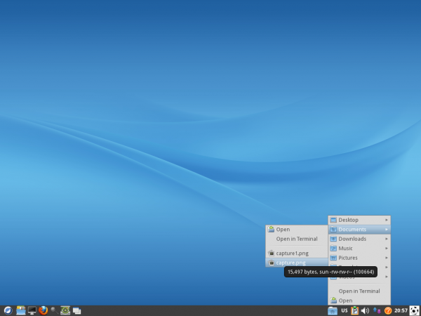 ROSA 2012 LXDE Desktop Directory Menu