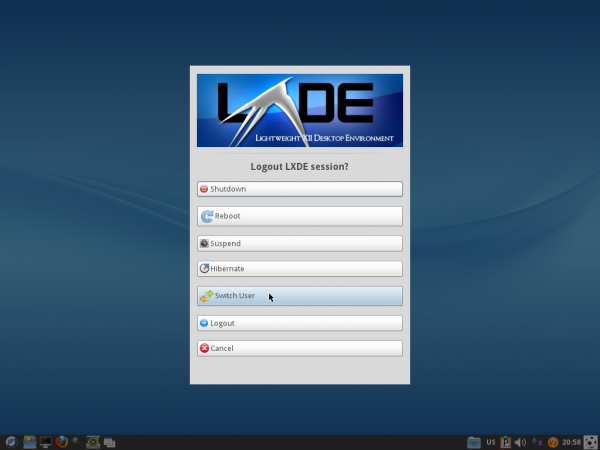 ROSA 2012 LXDE Logout Options