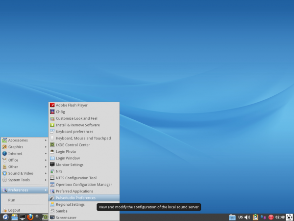 ROSA 2012 LXDE Desktop Menu