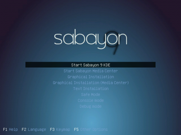 Sabayon 9 Boot Menu Options