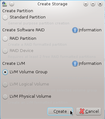 Anaconda Create LVM Group
