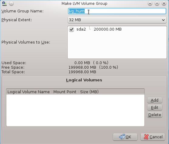 Anaconda Create LVM Volume Group