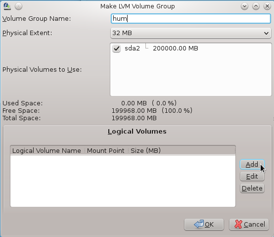 Anaconda Create LVM Logical Volume