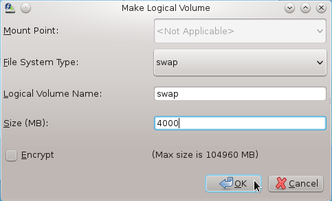 Anaconda Create Swap Logical Volume