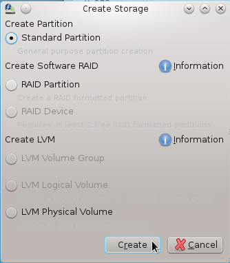 Anaconda Create Standard Partition