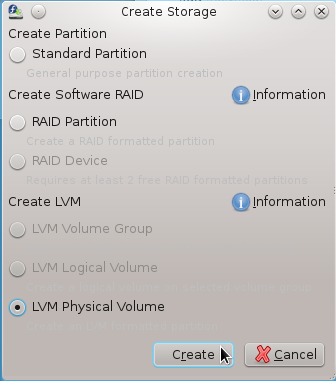 Anaconda Create LVM Volume