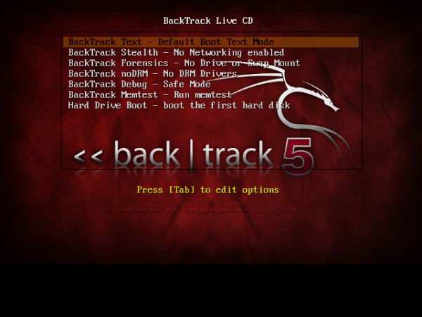 BackTrack 5 R2 GNOME Boot Menu
