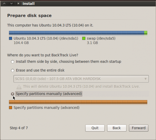 BackTrack 5 R2 GNOME Partition Type