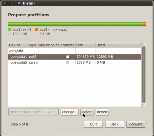 BackTrack 5 R2 GNOME Advanced Partition
