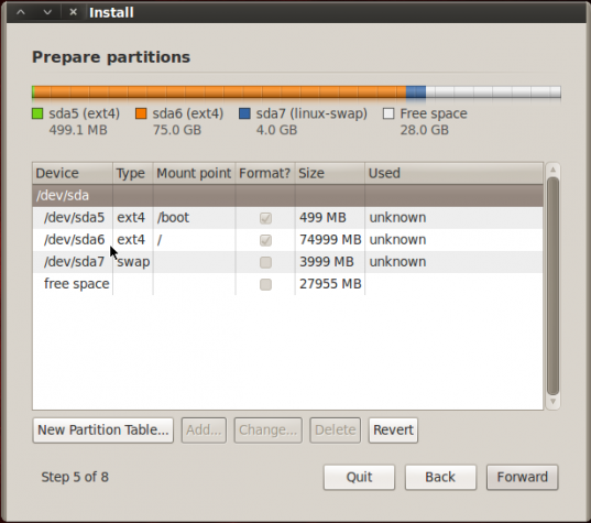 BackTrack 5 R2 GNOME Disk Partition