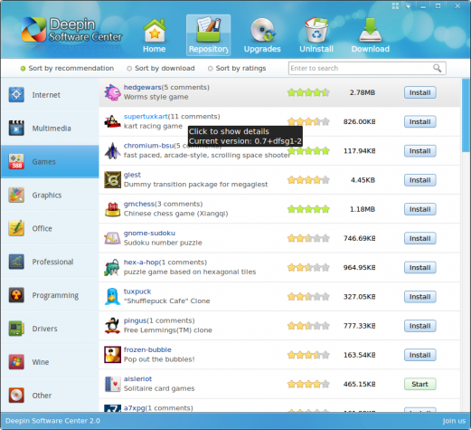 Deepin Software Center Category