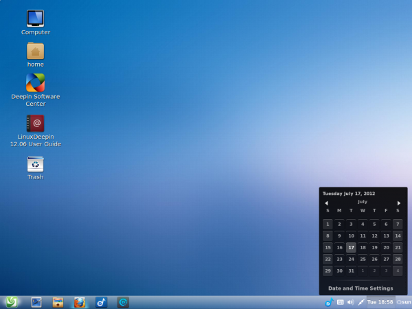 Linux Deepin 12.06 Panel Bottom