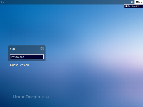 Linux Deepin 12.06 Login