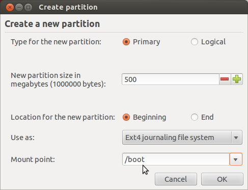 Ubuntu 12.04 Add Boot Partition