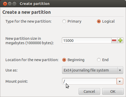 Ubuntu 12.04 Add Root Partition