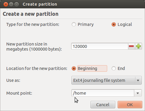 Ubuntu 12.04 Add Home Partition