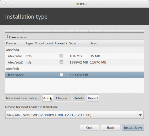 Pear Linux 5 Install Add Partition