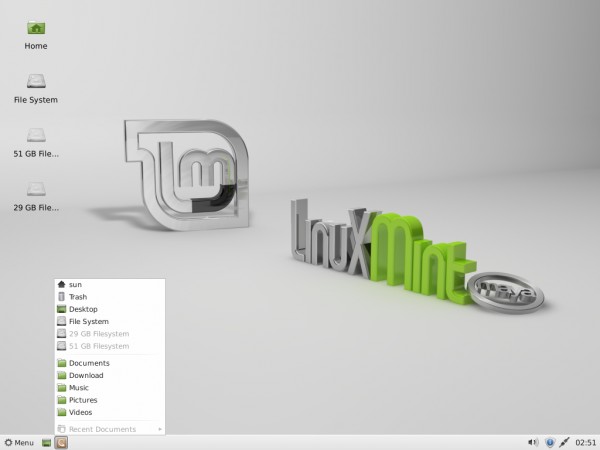 Linux Mint 13 Xfce Places