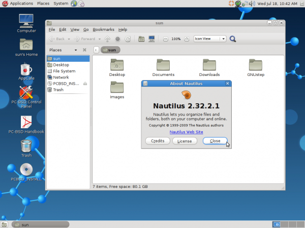 PC-BSD 9.1 GNOME Desktop