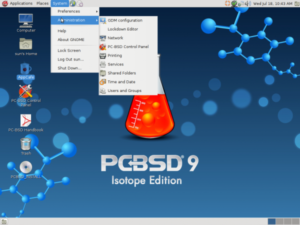 PC-BSD 9.1 GNOME Places