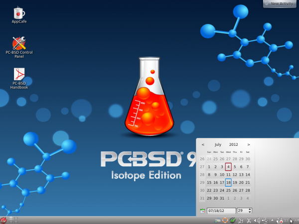 PC-BSD 9.1 KDE Desktop Date Widget