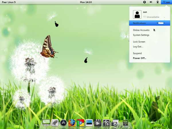 Pear Linux 5 Desktop Notification