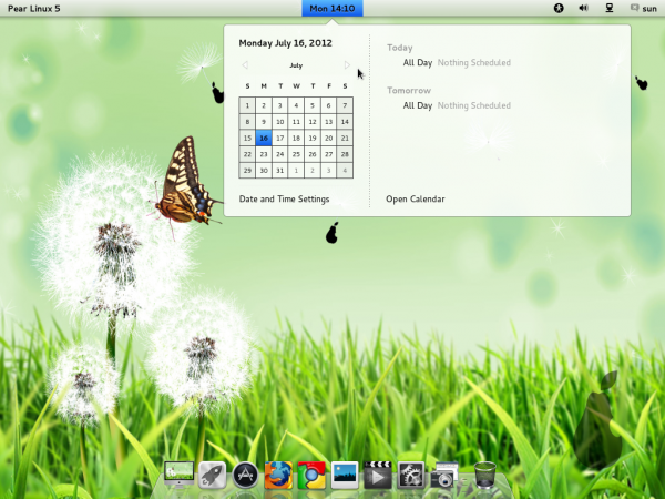 Pear Linux 5 Desktop Date