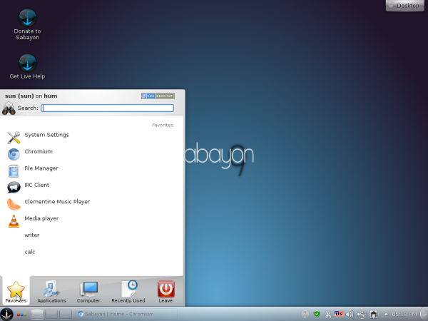 Sabayon 9 KDE Desktop Kickoff Menu