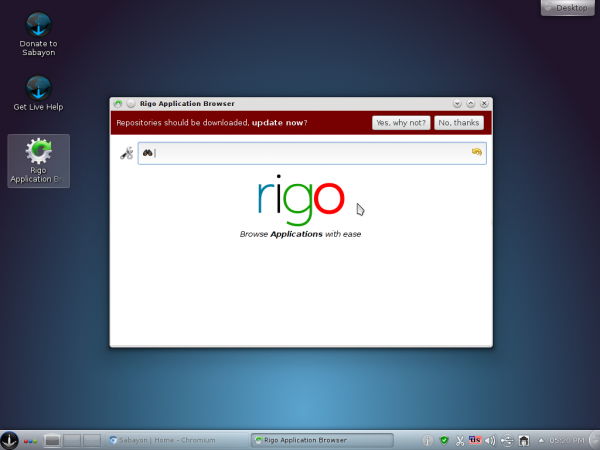 Sabayon 9 KDE Rigo Package Manager
