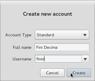 Create Standard User Account
