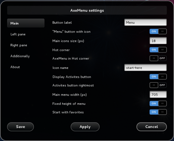 Axe Menu Settings