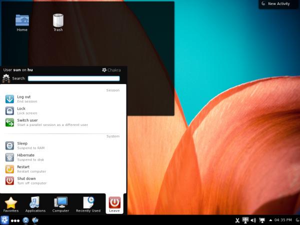 Chakra Claire Desktop Menu