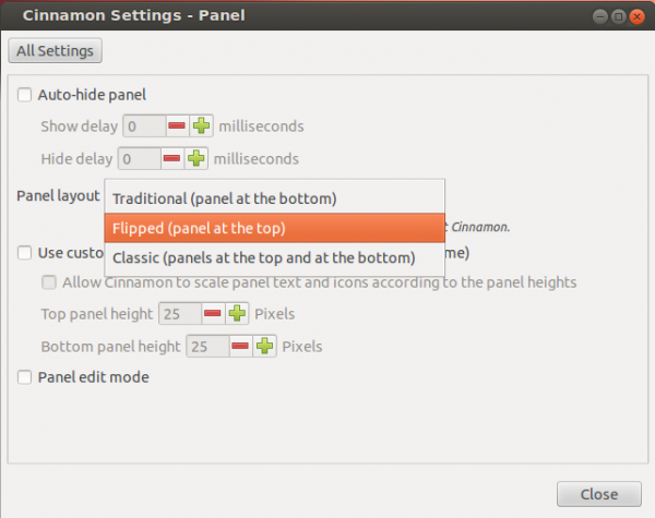 Cinnamon Panel Layout