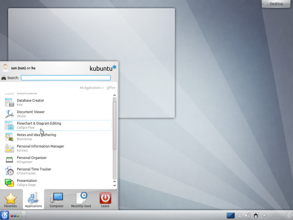 Kubuntu Beta Desktop Menu
