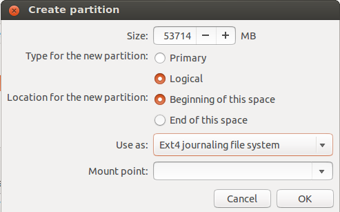 Create Partition Tool