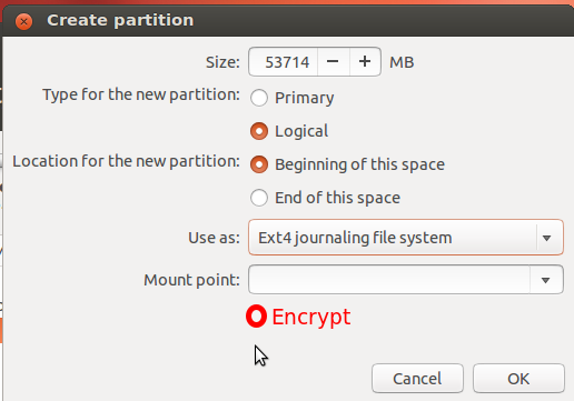 Disk Encryption Option
