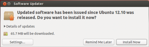 Ubuntu 12.10 Software Updater