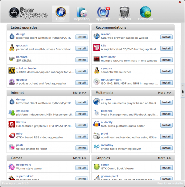 Pear Linux 6 Appstore
