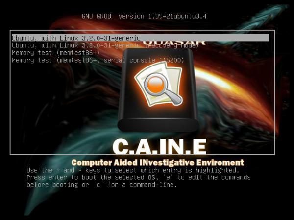 Caine 3 GRUB Menu