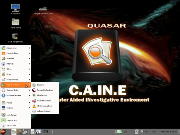 Caine 3.0 Desktop Menu