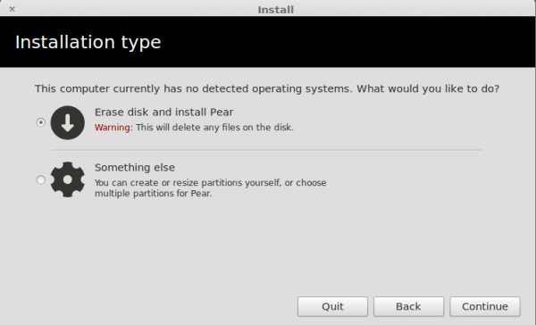 Pear Linux 6 Partition Methods