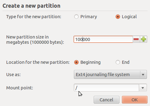 Create Root Partition