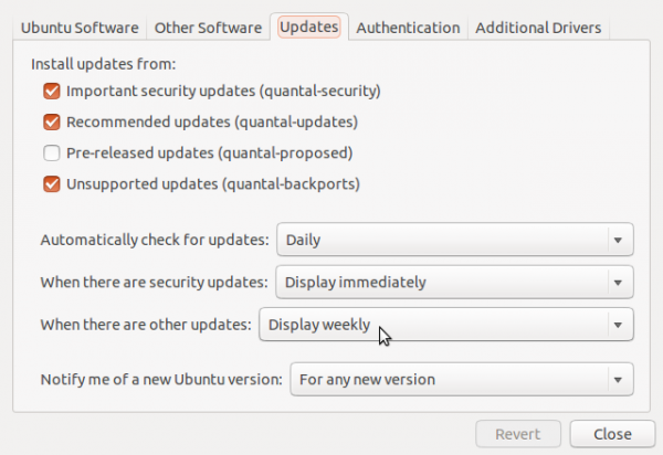 Software Updates Settings
