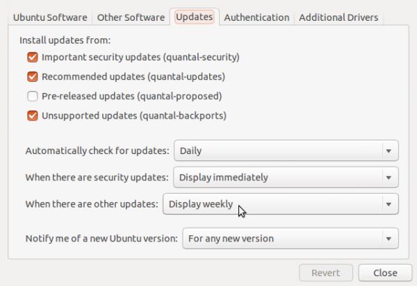Software Updates Settings