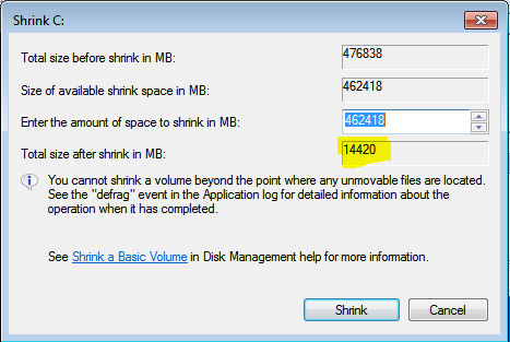 Windows 7 Shrink Partition